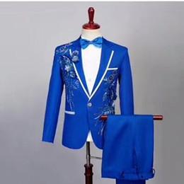 Traje de alta calidad bordado para hombres, traje de dos piezas (chaqueta + pantalón), vestido de negocios para hombres, novio de boda, vestido de padrino de boda desde fabricantes