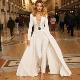 volle hülsenspitzebodysuitfrauen Rabatt Weiß Sexy figurbetonter Overall-Spielanzug Frauen Langarm-Bodysuit eleganter V-Ausschnitt Overall Overall Frauen Herbst Overall 2019