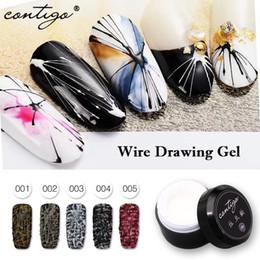 2019 clavos de alambre Dibujo de alambre Tela de araña Pintura en gel DIY Gel UV para diseño de uñas Spiderweb Polish Nails Art Draw Gels Barniz clavos de alambre baratos