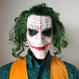 Parrucche puntelli online-Joker Mask film horror maschere pagliaccio Cosplay lattice con parrucca verde spaventoso Halloween Party Props Costume