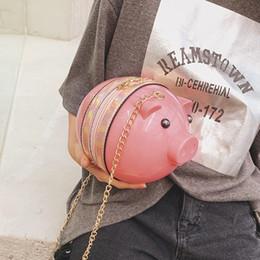 Mini maiali di plastica online-Ragazze Mini Messenger Bags plastica acrilica Pig Figura dei sacchetti spalla divertente sveglia borsa per Ragazze 2019