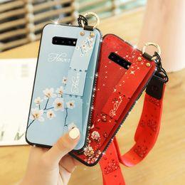 Canada Cas de téléphone de mode bracelet pour Samsung Galaxy S10 Plus S10E S9 S8 Note9 8 A30 A50 A10 M10 M30 A70 strass étui souple avec lanière cheap galaxy cover rhinestone Offre