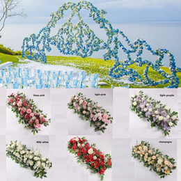 Plantando peônia on-line-50 centímetros DIY Artificial Arch Flor Row Acanthosphere Rose Eucalyptus decoração do casamento Flores Rose Peony Hydrangea planta da flor Row