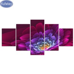 Punto croce 3d diamante online-5 pannelli Flower Colorl Diamond Painting Full, Diamond Embroidery, 3d picture, Cross Stitch, Diamond Mosaic, Still life, decorazioni per la casa