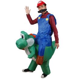 2019 aufblasbares reitkostüm Aufblasbare Super Mary Kleidung Mario Riding Dinosaurs Aufblasbare Kostüm Erwachsene Halloween Weihnachten Cosplay Aufblasbare Spielzeug Geschenk rabatt aufblasbares reitkostüm