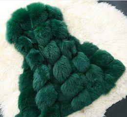 Argentina Chaleco de piel de alta calidad abrigo de invierno moda pieles abrigos de las mujeres chaqueta de lujo Faux Fox cálido abrigo de mujer abrigo 4XL 201888 Suministro