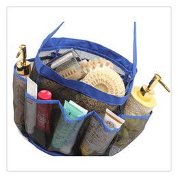 portable bath bag Coupons - Portable Mesh Shower Tote Quick Dry Hanging Toiletry and Bath Organizer with 8 Storage Pockets Perfect Travel Bag Wholesale
