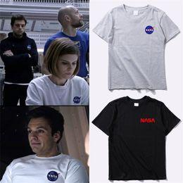 2019 raumhemden NASA Space T-Shirt Retro Herren T-Shirt Marke Shirts Fashion Tide Nasa Print T-Shirt Herren Kurzarm T-Shirt Sommerbekleidung günstig raumhemden