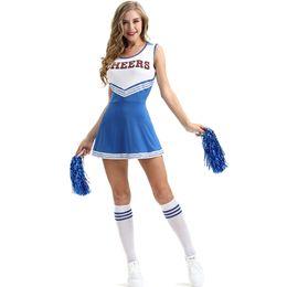 Gioco sexy blu online-Sexy Girl Club Cheerleading Costumi Blue Student Basket Football Game Dress Lala Flower Lingerie Uniformi Visualizza New Trendy Clothing