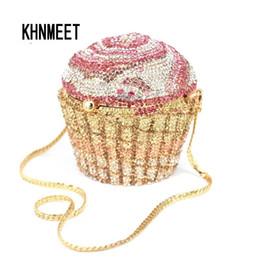 Handtaschenkuchen online-Designer Marke Luxus Kristall Abendtasche Mode Cupcake Diamant Kupplung Soiree Geldbörse Frauen Hochzeit Braut Kuchen Handtaschen Sc515MX190820