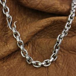 Застежка с крючком из серебряной рыбы онлайн-Рыболовный крючок Застежка 925 стерлингового серебра Mens цепи Байкер Punk ожерелье TA141 SH190927