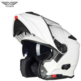 2019 capacete modular para cima Vcoros flip up à prova d 'água bluetooth moto capacete homem mulher com forro respirável capacete modular capacete de motocicleta capacete modular para cima barato