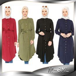 2019 abaya kaftan stil Frauen Tops Hemd Kleid Bluse Muslim 6XL Abaya Robe Lose Stil Tunika Jilbab Plus Größe Ramadan Malaysia Kaftan Islamische Kleidung Neue J190101 rabatt abaya kaftan stil