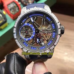 bracelet en caoutchouc Promotion Haute Qualité Excalibur 42 RDDBEX0529 Squelette Cadran Mécanique à remontage manuel Mens Montre Argent Diamant Cas Bleu Bracelet En Caoutchouc Sport Montres