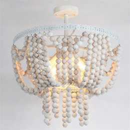 Regas Estilo Vintage 4-Light Moldura Branca Rústico Contas De Madeira Redondas Semi Flush Mount Luz de Teto 110 V de Fornecedores de luzes de tecto semi-niveladas rústicas