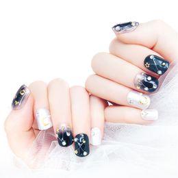2020 patchs étoiles blanches 24pcs haute qualité métal lune étoile à cinq branches blanc strass faux ongles patch DIY ongles bijoux décoration outils promotion patchs étoiles blanches