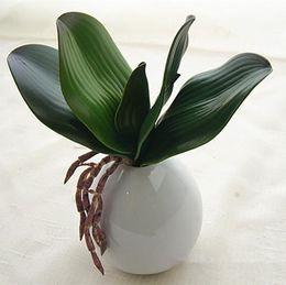Le foglie di orchidee online-Artificiale Real Touch Farfalla Orchidea Foglia Artificiale PU Pianta verde Foglie Succulente Decorazione domestica Foglie finte