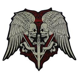 2019 transferências de diamante para asas Grande Bordado Desgaste Espada Wings Espada de Ferro Em Motociclista Motociclista Emblema Colete Jaqueta de Volta Applique 1 peça