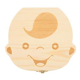 New Baby Milk Denti Box spagnolo / inglese Baby Dente di legno Box Baby Dente Organizzatore per bambini scatola di immagazzinaggio deciduo regalo creativo da vasetti in ghisa all'ingrosso fornitori