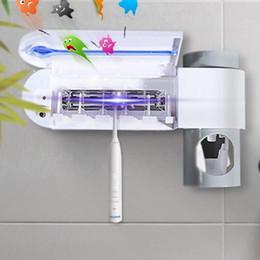 porta escova limpa Desconto 3 in1 Antibacteria Ultra-violeta Ultravioleta Esterilizador Titular Escova de Dentes Do Banheiro Cleaner Dispensador de Creme Dental Automático UE / REINO UNIDO / EUA Plug