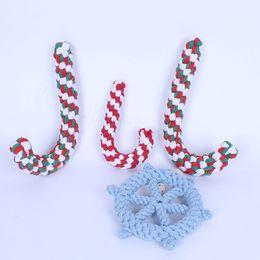 chinelos de peluches Desconto Dog trançado Cane Leme Chew Toy Pet Shop Cotton Rope Treinamento Interativo brincar de morder Brinquedos de Natal Muleta suprimentos corda pet FFA3525-5