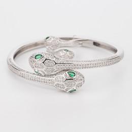 Sterling Silver Woman Élasticité Animal Bracelet Serpent 2 Deux Têtes Ouvertes Bracelets Designer Bijoux De Luxe Naturel Émeraude De Mariage Bijoux ? partir de fabricateur