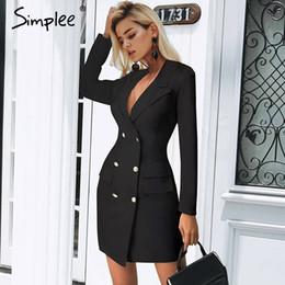 340549d7653c Distribuidores de descuento Mujer Oficina Vestido Negro Cuello ...