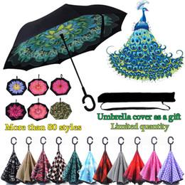 Зонтик для автомобилей онлайн-Оптовые Творческие Перевернутые Зонтики C Ручка Ветрозащитный Обратный Складной Двойной Слой Перевернутый Солнечный Дождливый C-Hook Зонтик громкой связи для автомобиля