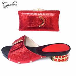 Argentina Capputine 2019 Venta caliente de zapatos italianos con juego de bolsos a juego Moda decorada con diamantes de imitación y zapatos de fiesta africanos cheap sell italian shoes Suministro