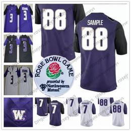 NCAA Washington Huskies  3 Elijah Molden 7 Taylor Rapp 21 Quinten Pounds 88  Drew Sample Black Purple White Stitched 2018 Rose Bowl Jerseys c5c7f52a1