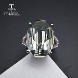 TBJ, 925 argent sterling grande taille vert améthyste anneaux prasiolite bagues spécial coupe pierres précieuses naturelles beaux bijoux pour femme ? partir de fabricateur