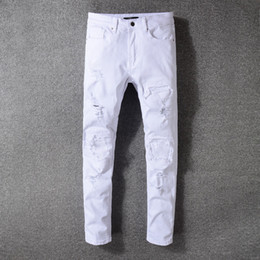 bc48a8823f238 Mode Hommes Déchiré Longs Jeans Causal Blanc Hommes Pantalon En Plein Air  Moto Biker Pant Déchiré Déchiré Strech Jeans LJJT622 promotion jeans blanc  homme
