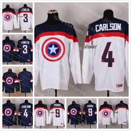 3ce85b305 2015 Custom any name any number Wholesale Mens 4 Carlson 3 Fowler 9 Parise  Blank Blue White Captain America Fashion Ice Hockey Jerseys discount blank  hockey ...