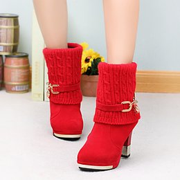 b5434032f18 ZHENZHOU 2018 winter thick with women s boots high-heeled female boots  frosted wool in the Martin boots women Women s shoes