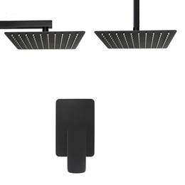 Set de ducha formas online-Matte Negro Single Way Rain Shower Set Baño Soild Latón Calidad Cuadrado Ducha Grifo 2 mm Cabeza de ducha ultrafina