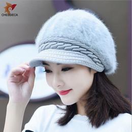 CHESSIECA Women Winter Cap Rabbit Fur Hat Knitted Warm Beanies Womens Hats  Gorro Casual Ladies Beret For Girls Female Caps b85f0da09e3f