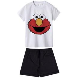 Sesame Street Ropa para niños Set Traje de dibujos animados de Elmo Bebé Traje de traje de verano Camiseta + Pantalones 2 piezas Ropa de bebé Ropa de niños desde fabricantes
