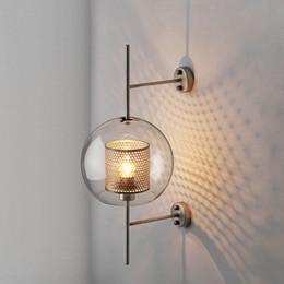 Lampes de chevet fer en Ligne-Lampes murales modernes pour abat-jour en verre clair pour la chambre à coucher chevet du restaurant étude suspendue loft rétro fer NET luminaire