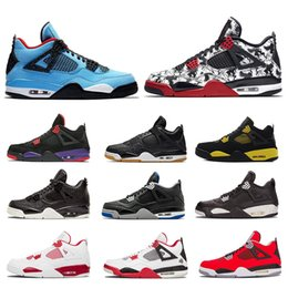 sports fire Promo Codes - 2019 4 Basketball Shoes 4s Men Pure Royalty White Cement Black Bred Fire Red Womens Trainers Sports Sneakerss Size 36-47
