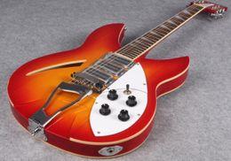 Полые гитарные звукосниматели онлайн-Пользовательские RIC Cherry Sunburst 360 Semi Hollow Body 12 струн для электрогитары 3 тостера, двойной кремовый корпус, инкрустация треугольником MOP