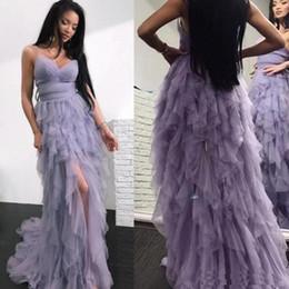 Zuhair murad lilac on-line-Zuhair Murad Linda Lilac Ruffles Cansado Saia Vestidos de Baile Querida Espaguete Correias Frente Dividir Vestidos de Noite Uma Linha Sem Encosto