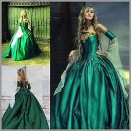 2019 trendige quinceanera Korsett Renaissance Emerald Prom Dresses Trendy Trägerlose Lange Ärmel Plus Size Viktorianische Abendkleider Lace Up Queen Quinceanera-Kleider günstig trendige quinceanera