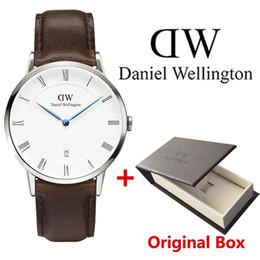 dw daniel wellington Desconto 2019 nova moda DW relógio de quartzo pulseira de couro data automática de negócios informais marca homens Daniel Wellington watch
