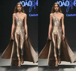 49fa84333 2019 New Gloosy Prom Vestidos Macacões Rose Applique Lace Applique Calças  De Cetim Vestidos de Noite Formal Vestido de Festa Vestido de Celebridade