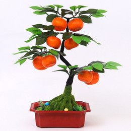 Decoraciones de frutas de durazno online-Fake Flower Bauble Model Simulation Fruit Bonsai Fake Orange apple peach Tree Potted Home Living Room Decoration