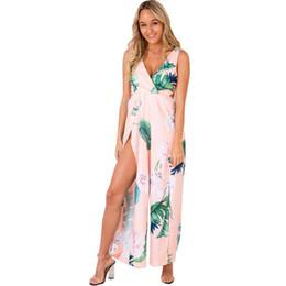 61cf38ef6c8 Women Jumpsuit Floral Print Deep V Neck Sleeveless High Waist Combinaison  Femme Split Bandage Backless Wide Legs Sexy Romper