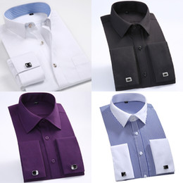 white cotton prom dresses Promo Codes - New Style Cotton White Men Wedding Prom Dinner Groom Shirts Wear Bridegroom Man Shirt Classic Striped Men Dress Shirts ( 37--46 )