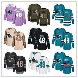 48 haie trikot Rabatt San Jose Sharks Trikots # 48 Tomas Hertl Trikot Eishockey Herren Damen Jugend blau weiß schwarz türkis grün Drift Stiched Fanatics Trikots