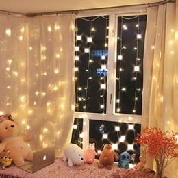 2019 estrella cortina luz ventana decoracion Navidad de la estrella del centelleo del banquete de boda cadena de luz LED cortina de ventana 300 Inicio Jardín dormitorio decoraciones al aire libre de la pared interior, blanco cálido rebajas estrella cortina luz ventana decoracion