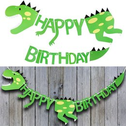 dino dinosaur Promo Codes - Dinosaur Happy Birthday Banners Favors For Kids Boy GiftBanner Set Dino Themes Event Party Supplies Decoration Decor